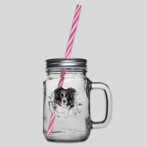 Border Collie im *Glas-Loch* - Henkelglas mit Schraubdeckel