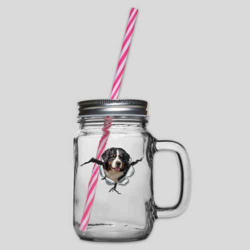 Berner Sennenhund im *Metall-Loch* - Henkelglas mit Schraubdeckel
