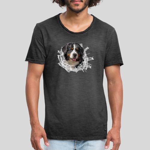 Berner Sennen Hund im *Glas-Loch* - Männer Vintage T-Shirt