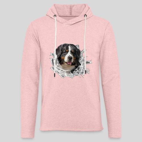 Berner Sennen Hund im *Glas-Loch* - Leichtes Kapuzensweatshirt Unisex
