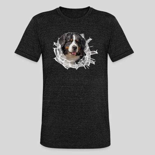 Berner Sennen Hund im *Glas-Loch* - Unisex Tri-Blend T-Shirt von Bella + Canvas