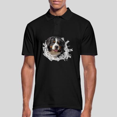 Berner Sennen Hund im *Glas-Loch* - Männer Poloshirt