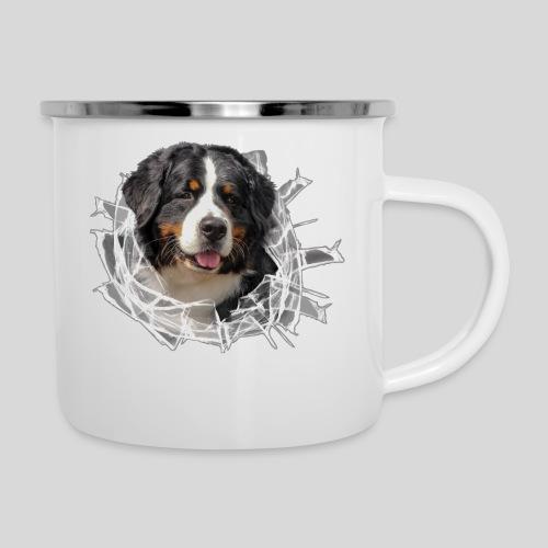 Berner Sennen Hund im *Glas-Loch* - Emaille-Tasse
