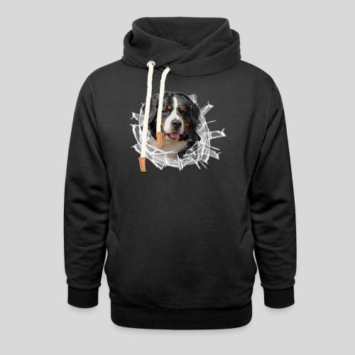 Berner Sennen Hund im *Glas-Loch* - Schalkragen Hoodie