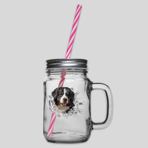 Berner Sennen Hund im *Glas-Loch* - Henkelglas mit Schraubdeckel