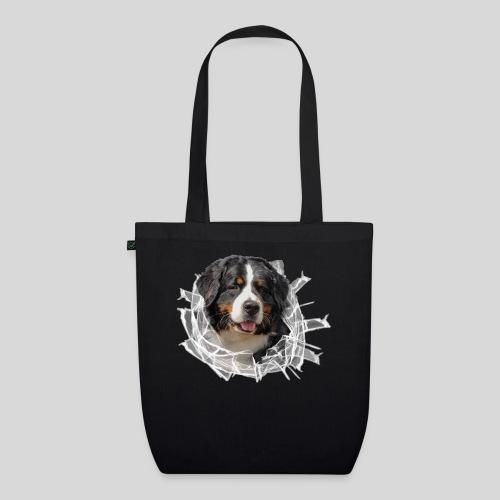 Berner Sennen Hund im *Glas-Loch* - Bio-Stoffbeutel