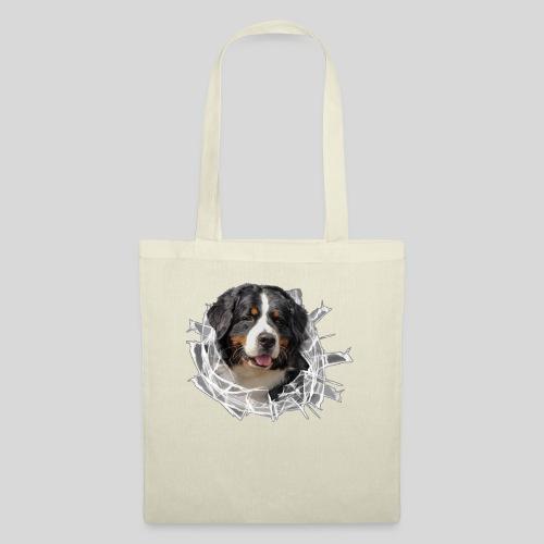 Berner Sennen Hund im *Glas-Loch* - Stoffbeutel