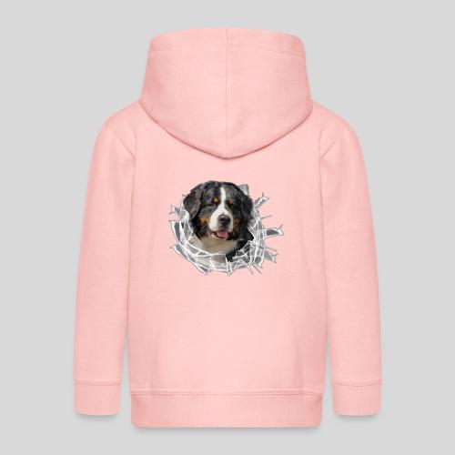 Berner Sennen Hund im *Glas-Loch* - Kinder Premium Kapuzenjacke