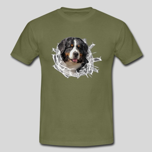 Berner Sennen Hund im *Glas-Loch* - Männer T-Shirt