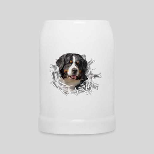 Berner Sennen Hund im *Glas-Loch* - Bierkrug