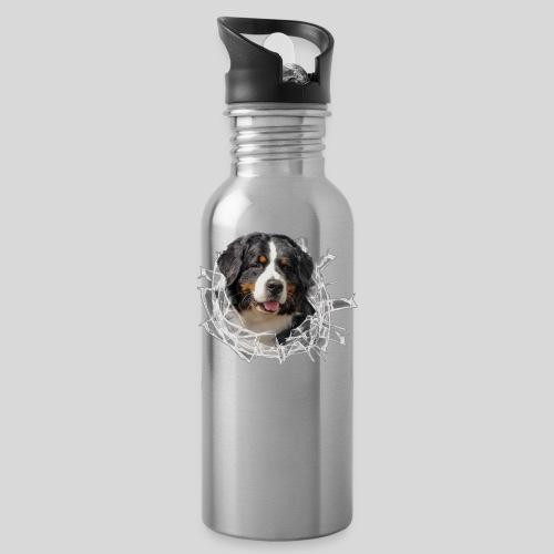 Berner Sennen Hund im *Glas-Loch* - Trinkflasche
