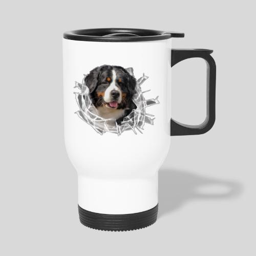 Berner Sennen Hund im *Glas-Loch* - Thermobecher