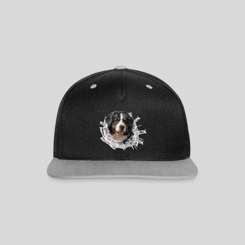 Berner Sennen Hund im *Glas-Loch* - Kontrast Snapback Cap