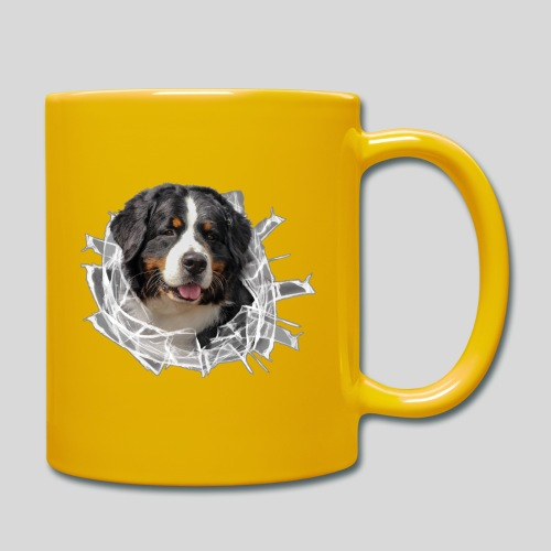 Berner Sennen Hund im *Glas-Loch* - Tasse einfarbig