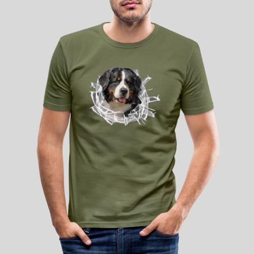 Berner Sennen Hund im *Glas-Loch* - Männer Slim Fit T-Shirt