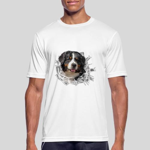 Berner Sennen Hund im *Glas-Loch* - Männer T-Shirt atmungsaktiv