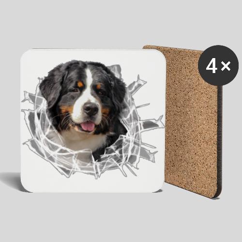 Berner Sennen Hund im *Glas-Loch* - Untersetzer (4er-Set)