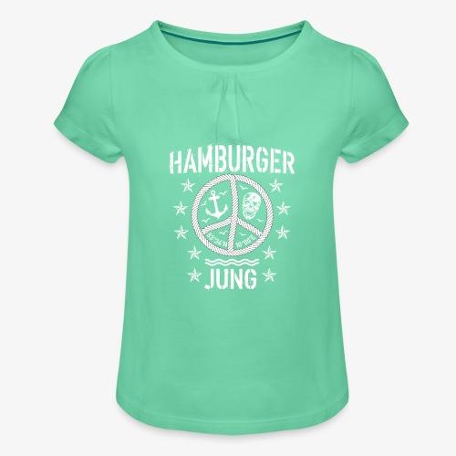 96 Hamburger Jung Peace Friedenszeichen Seil - Mädchen-T-Shirt mit Raffungen