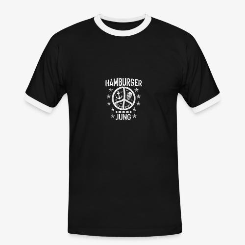 96 Hamburger Jung Peace Friedenszeichen Seil - Männer Kontrast-T-Shirt