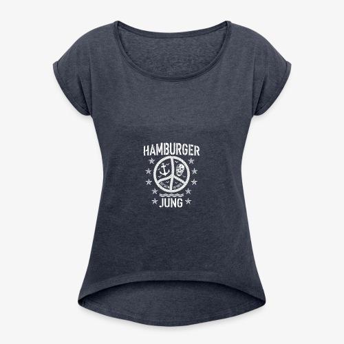 96 Hamburger Jung Peace Friedenszeichen Seil - Frauen T-Shirt mit gerollten Ärmeln
