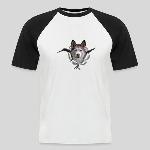 Husky im *Metall-Loch* - Männer Baseball-T-Shirt