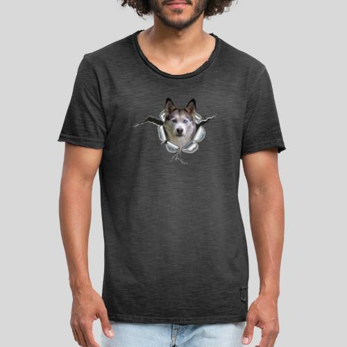 Husky im *Metall-Loch* - Männer Vintage T-Shirt