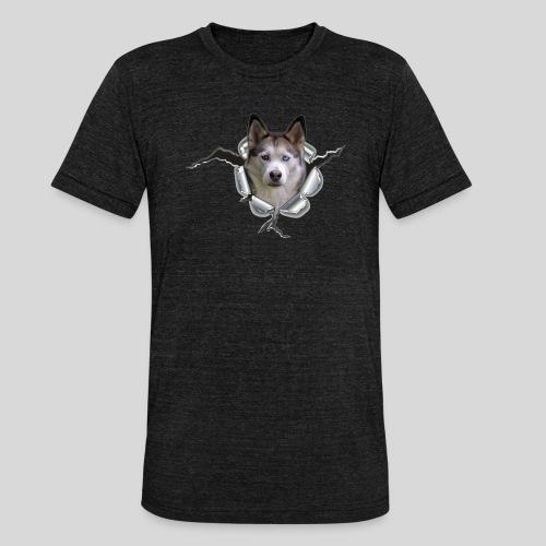 Husky im *Metall-Loch* - Unisex Tri-Blend T-Shirt von Bella + Canvas