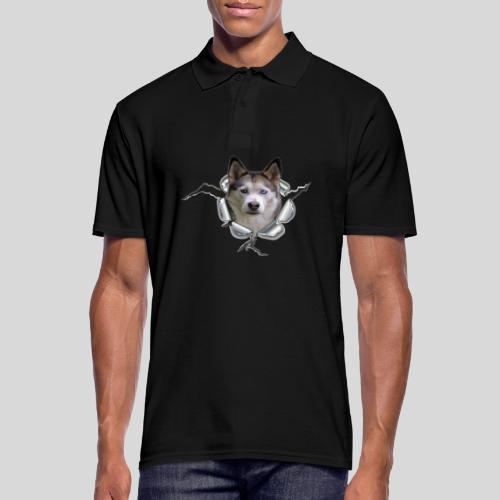 Husky im *Metall-Loch* - Männer Poloshirt