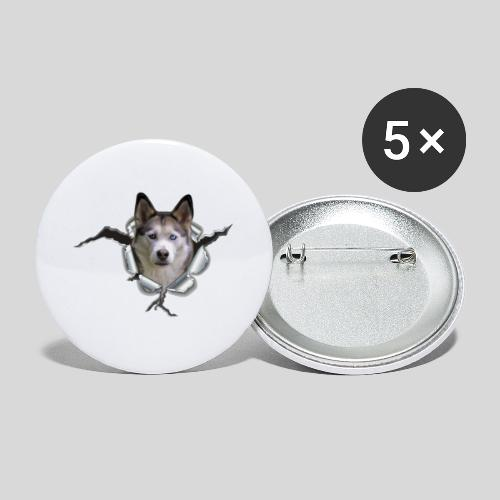 Husky im *Metall-Loch* - Buttons klein 25 mm (5er Pack)
