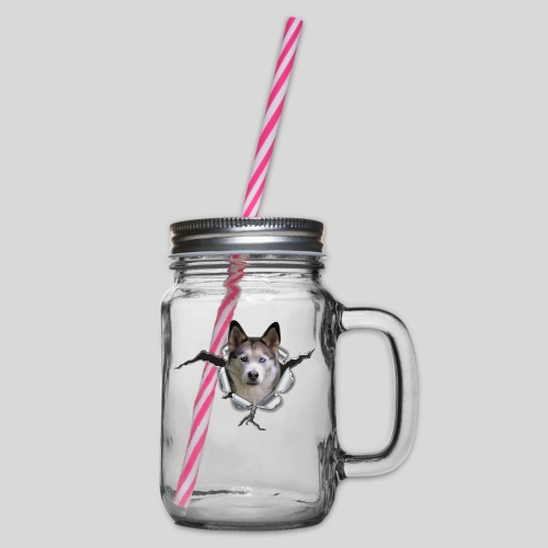 Husky im *Metall-Loch* - Henkelglas mit Schraubdeckel