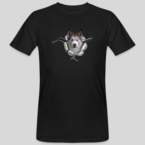 Husky im *Metall-Loch* - Männer Bio-T-Shirt