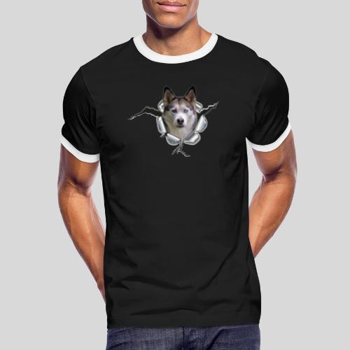 Husky im *Metall-Loch* - Männer Kontrast-T-Shirt