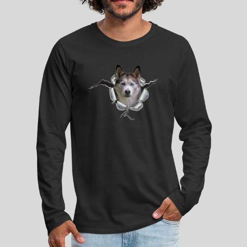 Husky im *Metall-Loch* - Männer Premium Langarmshirt