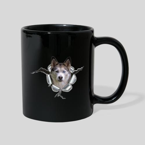 Husky im *Metall-Loch* - Tasse einfarbig