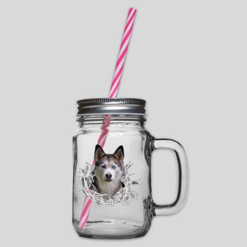 Husky im *Glas-Loch* - Henkelglas mit Schraubdeckel