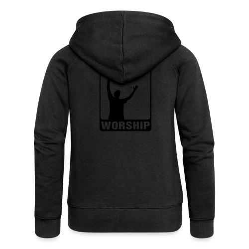 WORSHIP-black|gold (Boys) - Frauen Premium Kapuzenjacke
