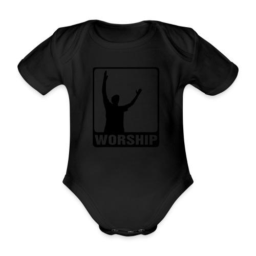 WORSHIP-black|gold (Boys) - Baby Bio-Kurzarm-Body