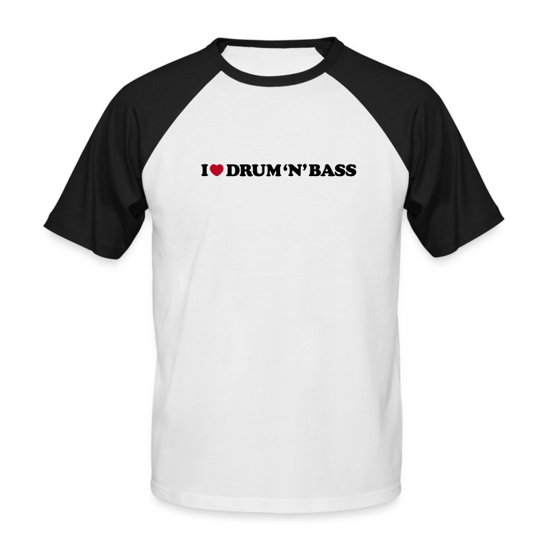 I Love Drum & Bass Baseball Tee (Black/White) - Men's Baseball T-Shirt