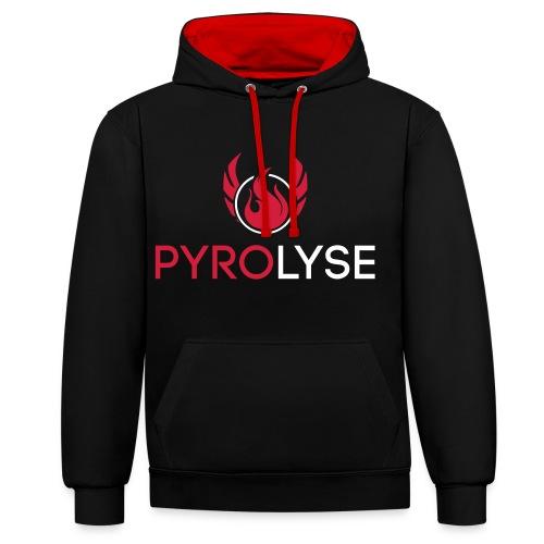 Pyrolyse Logo mit Schriftzug Weiß - Kontrast-Hoodie