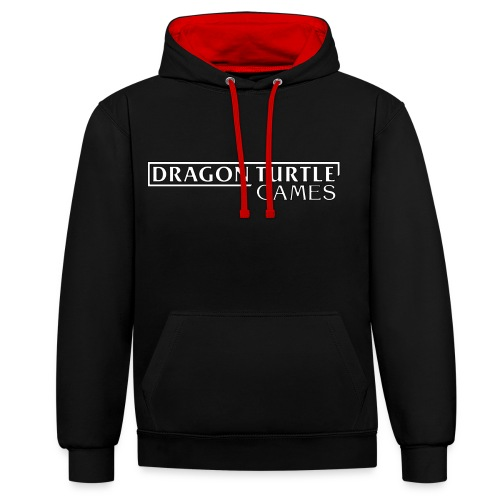 Dragon Turtle Games Logo White - Contrast Colour Hoodie
