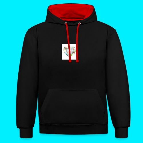 Heart image - Contrast Colour Hoodie