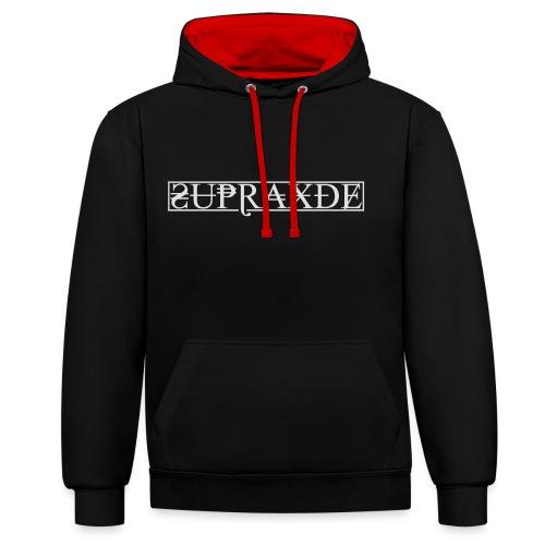SupraxDE Logo Weiß - Kontrast-Hoodie