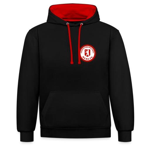 Logo in Rot Weiß - Kontrast-Hoodie