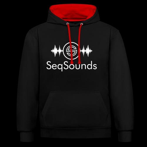 SeqSounds Logo mit Schrift - Kontrast-Hoodie
