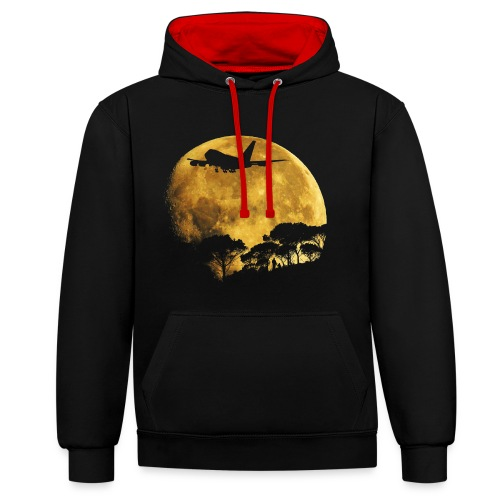 full moon - Contrast Colour Hoodie