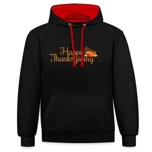 Happy Thanksgiving Words - Contrast Colour Hoodie