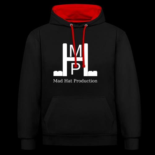 Mad Hat Logo | Weiß - Kontrast-Hoodie