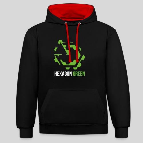 Hexagon Green - Kontrast-Hoodie