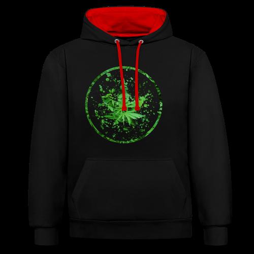 Cannabisblatt Farbklecks im Kreis - Kontrast-Hoodie
