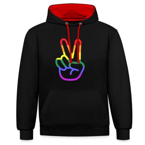 Peace Hand - Kontrast-Hoodie